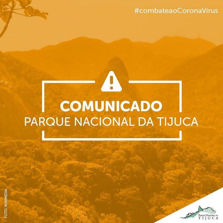 imagem informa o fechamento do parque nacional da tijuca